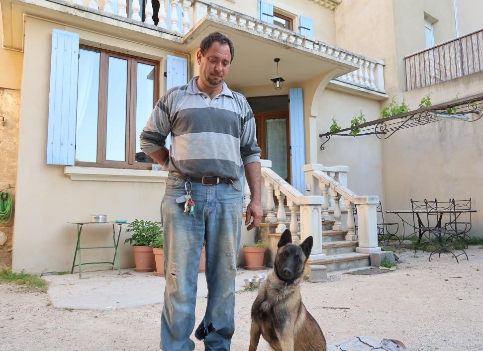Domaine de Saje's Jérôme Mathieu with his dog